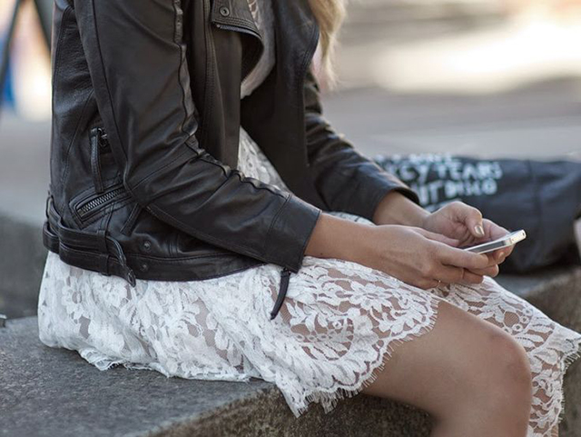 RED REIDING HOOD: Fashion inspiration white lace dress leather jacket outfit details