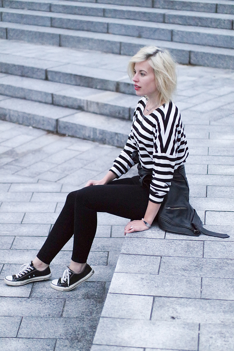 RED REIDING HOOD: Fashion blogger wearing converse all stars sneakers leather jacket outfit striped top