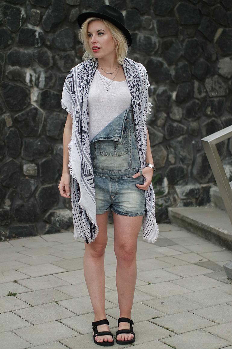 RED REIDING HOOD: Fashion blogger wearing denim dungarees teva sandals fedora hat festival outfit
