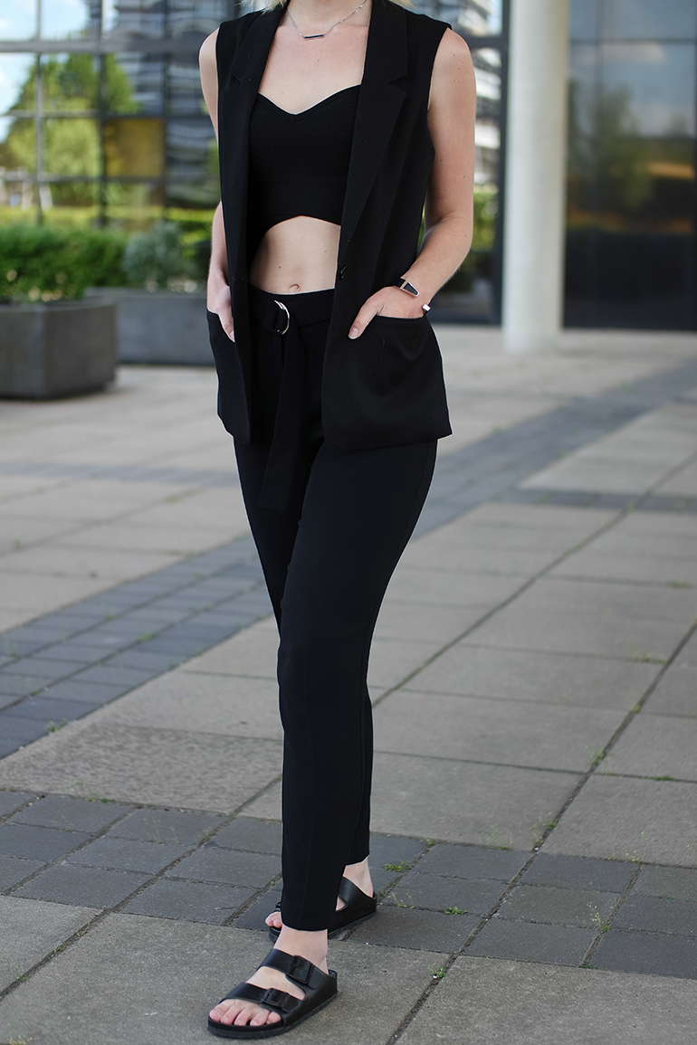 RED REIDING HOOD: Fashion blogger wearing suit pants birkenstock monterey slides sleeveless blazer outfit details