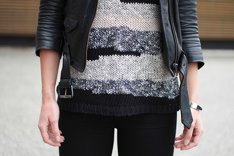 RED REIDING HOOD: Fashion blogger wearing mango knit top leather jacket outfit details