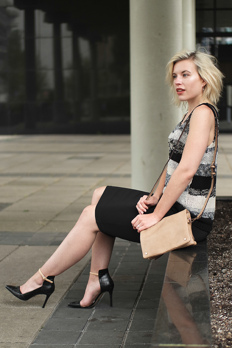 RED REIDING HOOD: Fashion blogger wearing strappy heels black python pumps zara pencil midi skirt mango premium top outfit