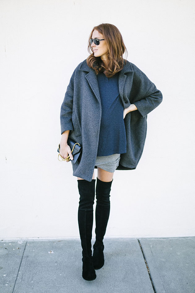RED REIDING HOOD: Fashion blogger wearing over the knee boots pregnant outfit could i have that maternity look