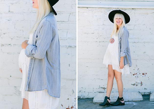 RED REIDING HOOD: Pregnant fashion blogger kelli murray white dress denim shirt maternity outfit