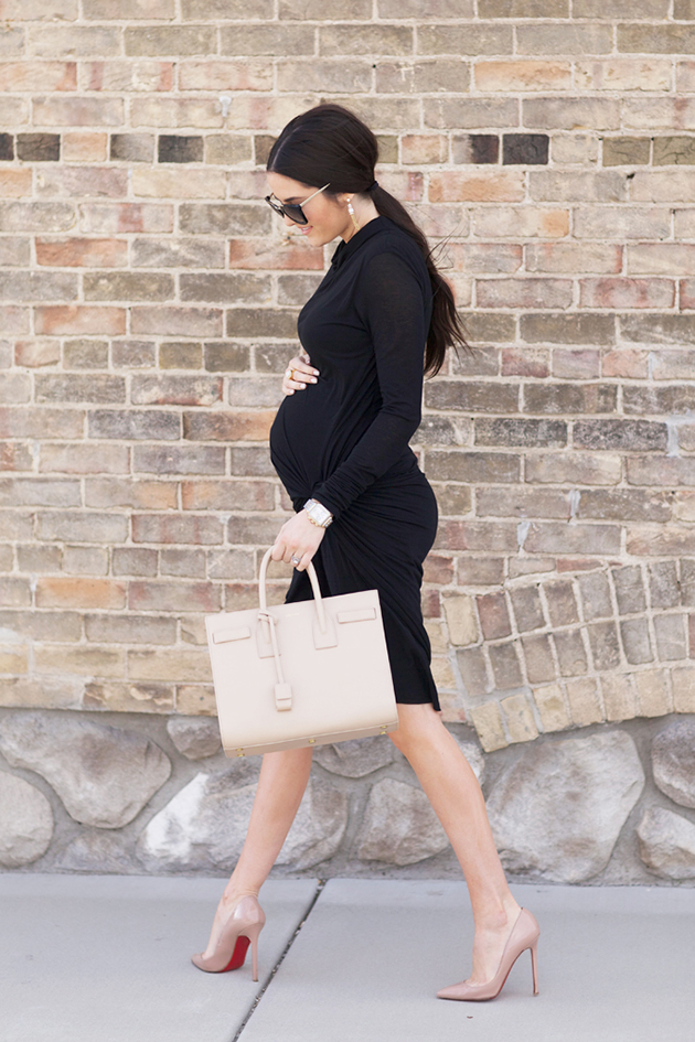 RED REIDING HOOD: Classy maternity look little black wrap dress pregnancy outfit fashion blogger pink peonies