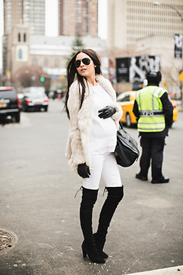RED REIDING HOOD: Fashion blogger pink peonies pregnancy look fashion week maternity outfit over the knee boots