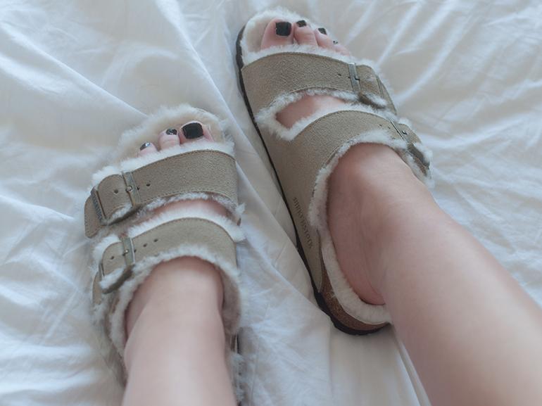 RED REIDING HOOD: Fashion blogger wearing fur shearling lined birkenstocks sandals slides birkenstock furkenstocks céline