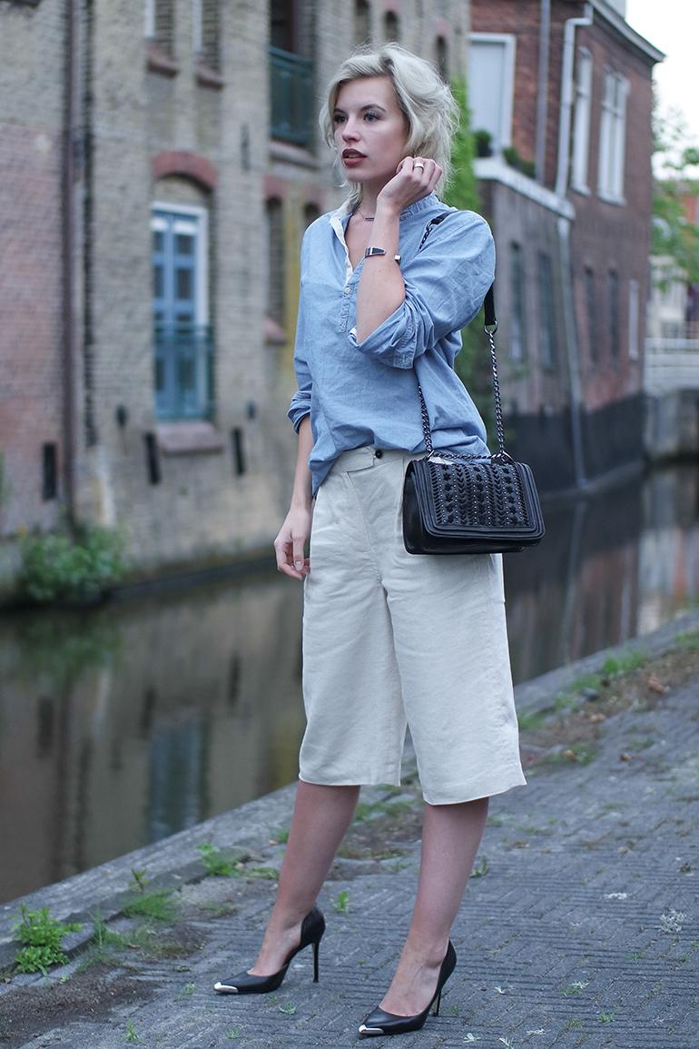 RED REIDING HOOD: Fashion blogger wearing mango linen culottes chambray shirt guess heels outfit