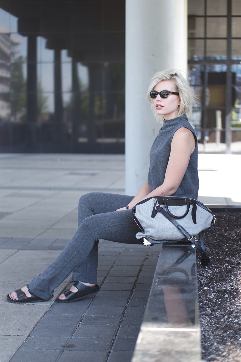 RED REIDING HOOD: Fashion blogger wearing alexander wang emile tote bag jersey suit outfit
