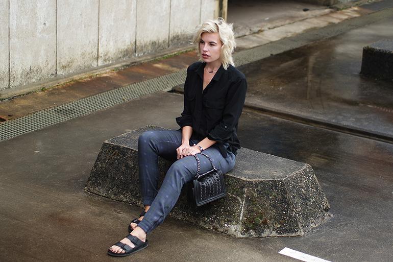 RED REIDING HOOD: Fashion blogger wearing plaid pants joseph outfit birkenstock monterey slides