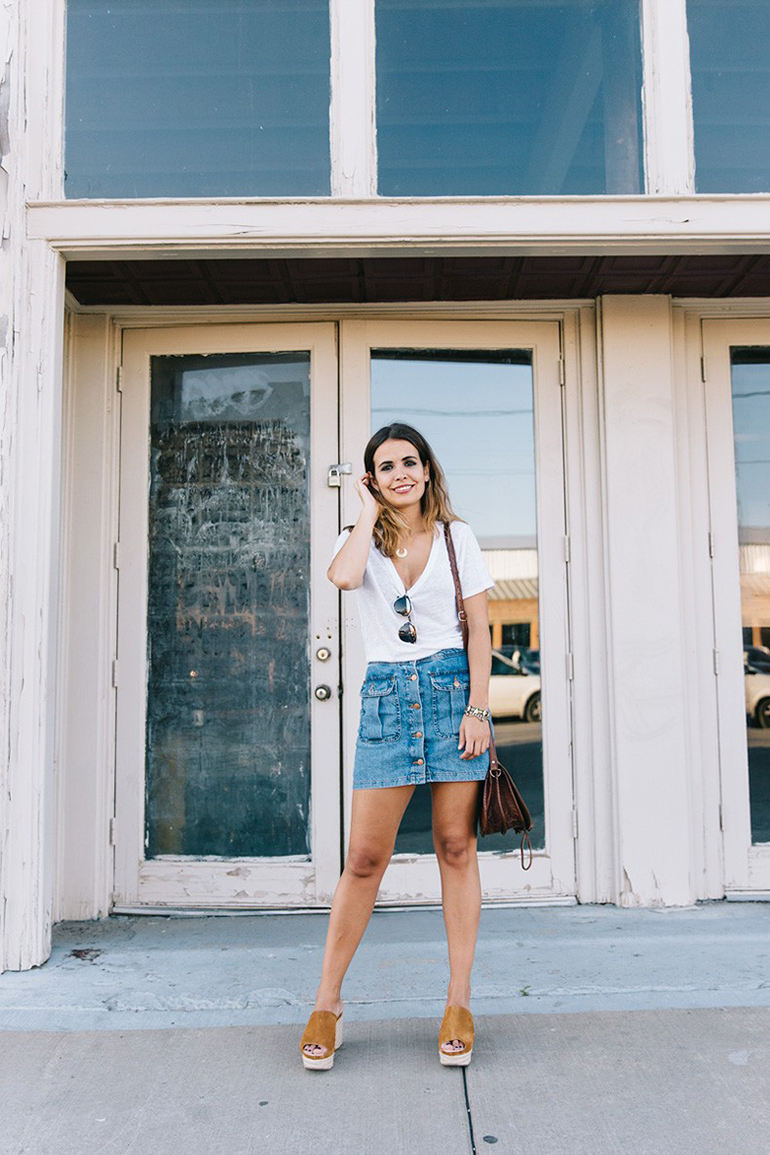 RED REIDING HOOD: Fashion blogger collage vintage wearing short mini button front denim skirt outfit