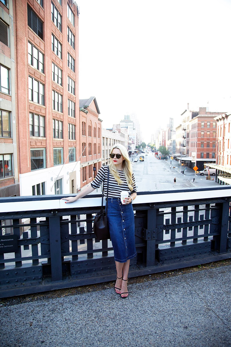 RED REIDING HOOD: Fashion blogger atlantic pacific wearing midi button front denim skirt outfit