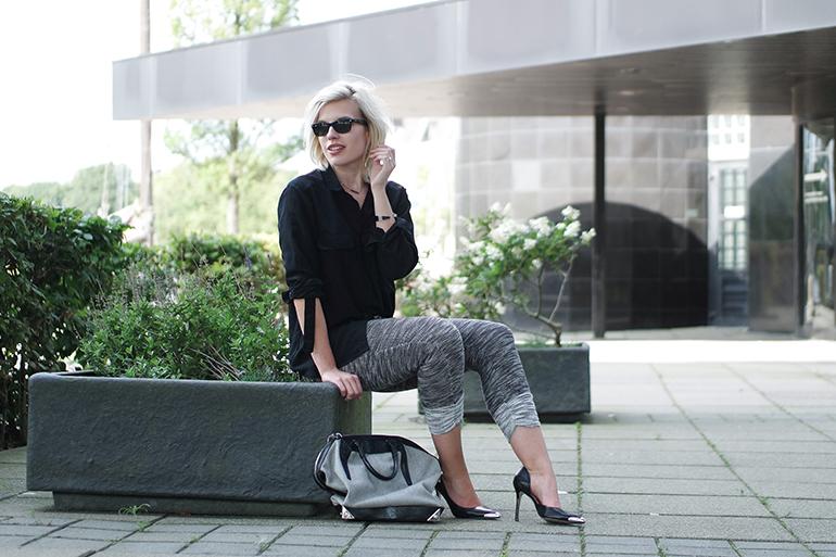 RED REIDING HOOD: Fashion blogger wearing knit jogger pants H&M pointy pumps alexander wang bag