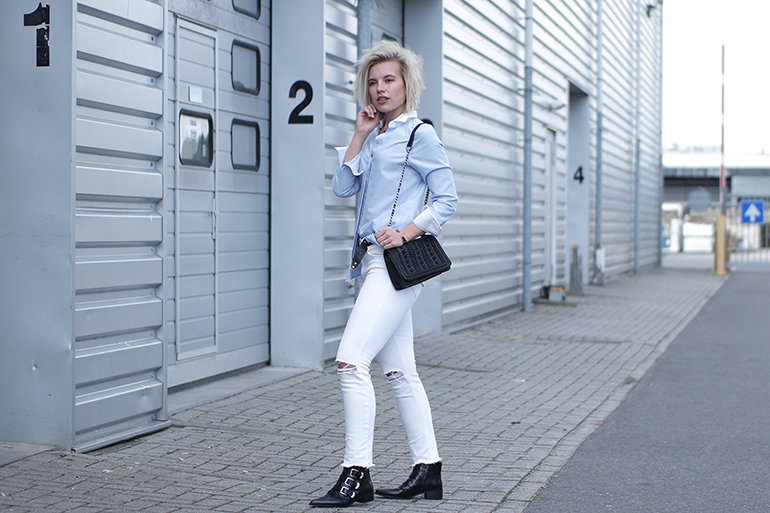 RED REIDING HOOD: Fashion blogger wearing oxford shirt white ripped jean supertrash buckle ankle boots outfit