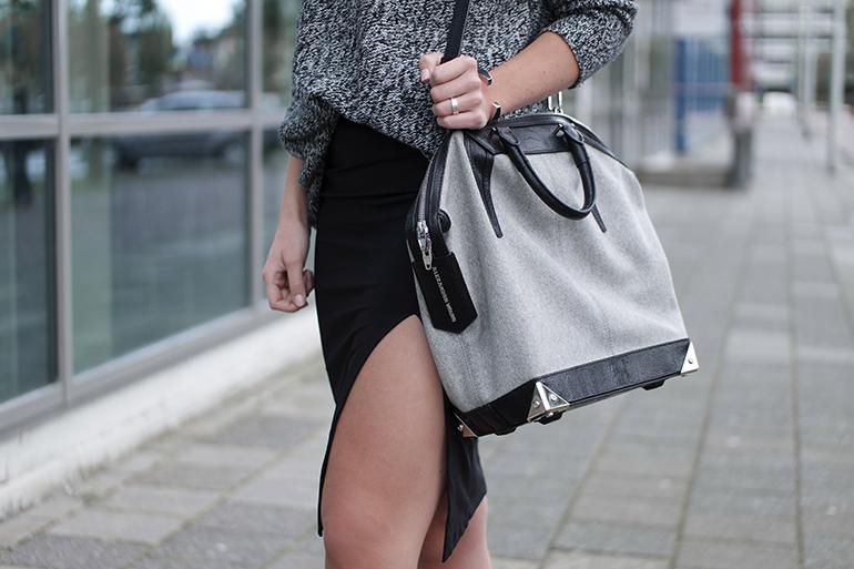 RED REIDING HOOD: Fashion blogger wearing alexander wang designer bag outfit details side slit skirt