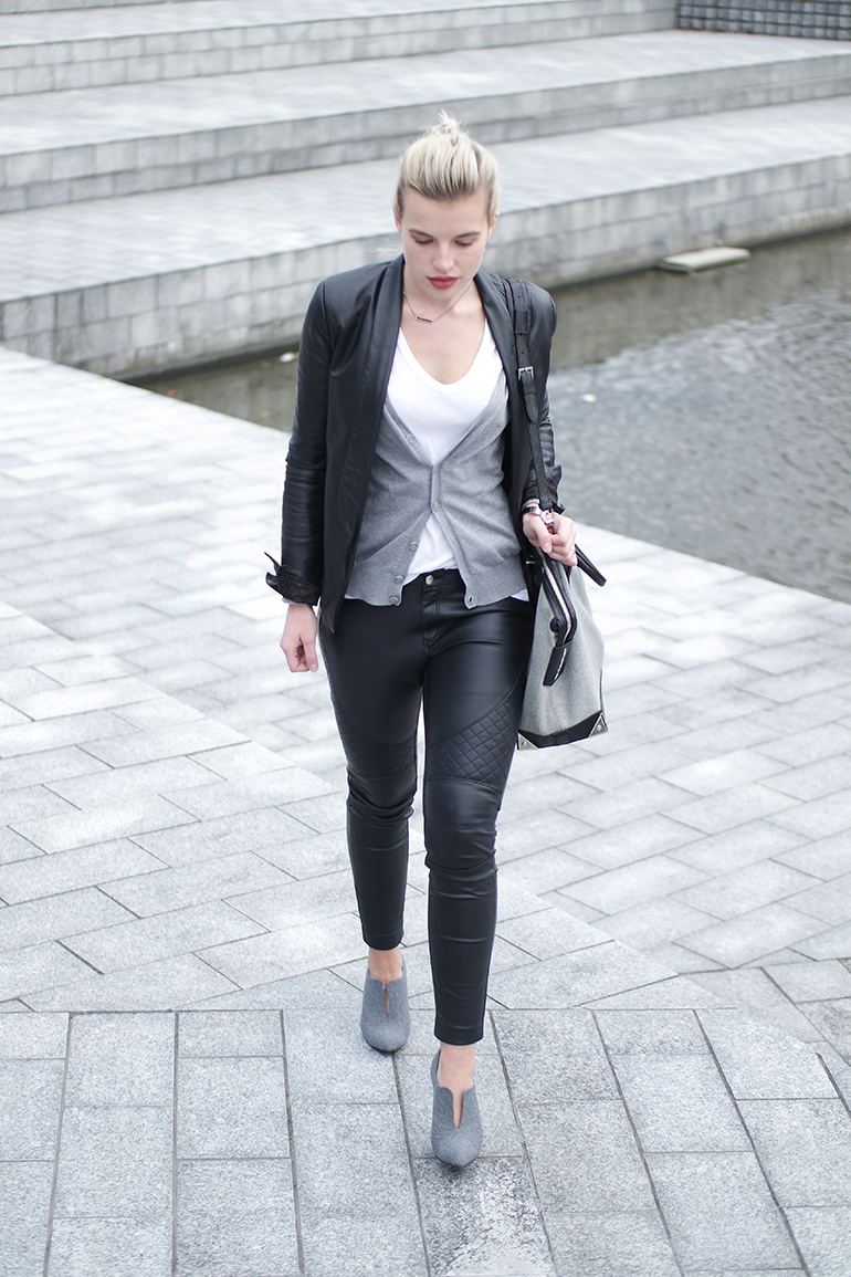 RED REIDING HOOD: Fashion blogger wearing leather on leather knit cardigan black grey outfit