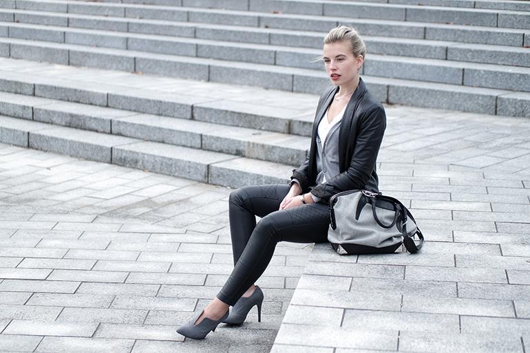 RED REIDING HOOD: Fashion blogger wearing faux leather pants H&M leather suit jacket Mango designer bag alexander wang emile tot outfit