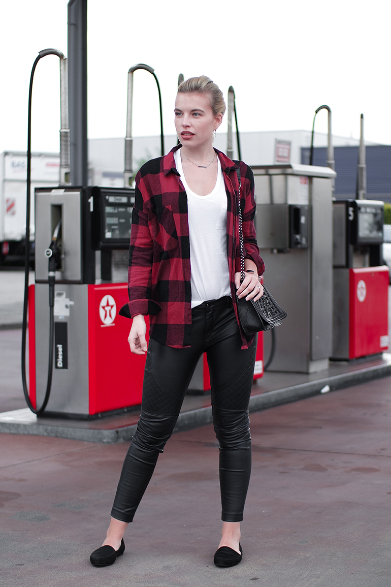 RED REIDING HOOD: Faux leather biker pants checkered shirt red lumberjack outfit