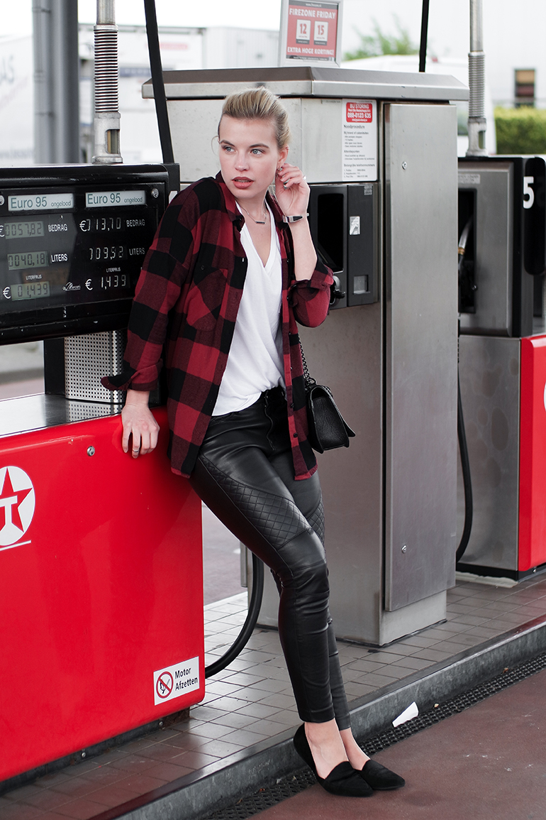 RED REIDING HOOD: Fashion blogger wearing faux leather pants outfit checkered lumberjack shirt