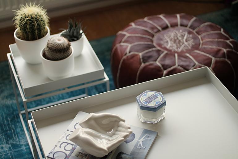 RED REIDING HOOD: L'Occitane mas des lavendes scented candle glass container blogger cacti interior