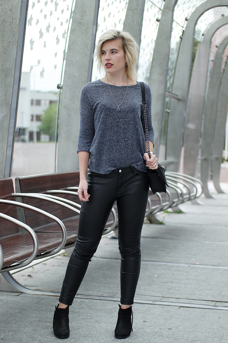 RED REIDING HOOD: Fashion blogger wearing faux leather pants acne pistol boots outfit