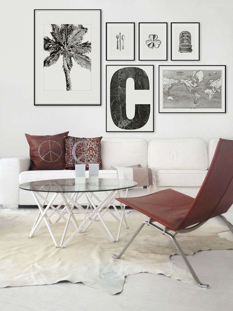 RED REIDING HOOD: Living room interior inspiration playtype letter posters C palm tree