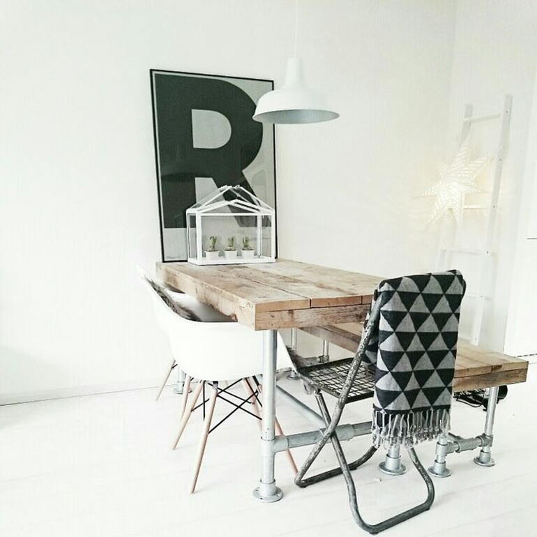 RED REIDING HOOD: dining table interior inspiration playtype letter posters R industrial wooden table