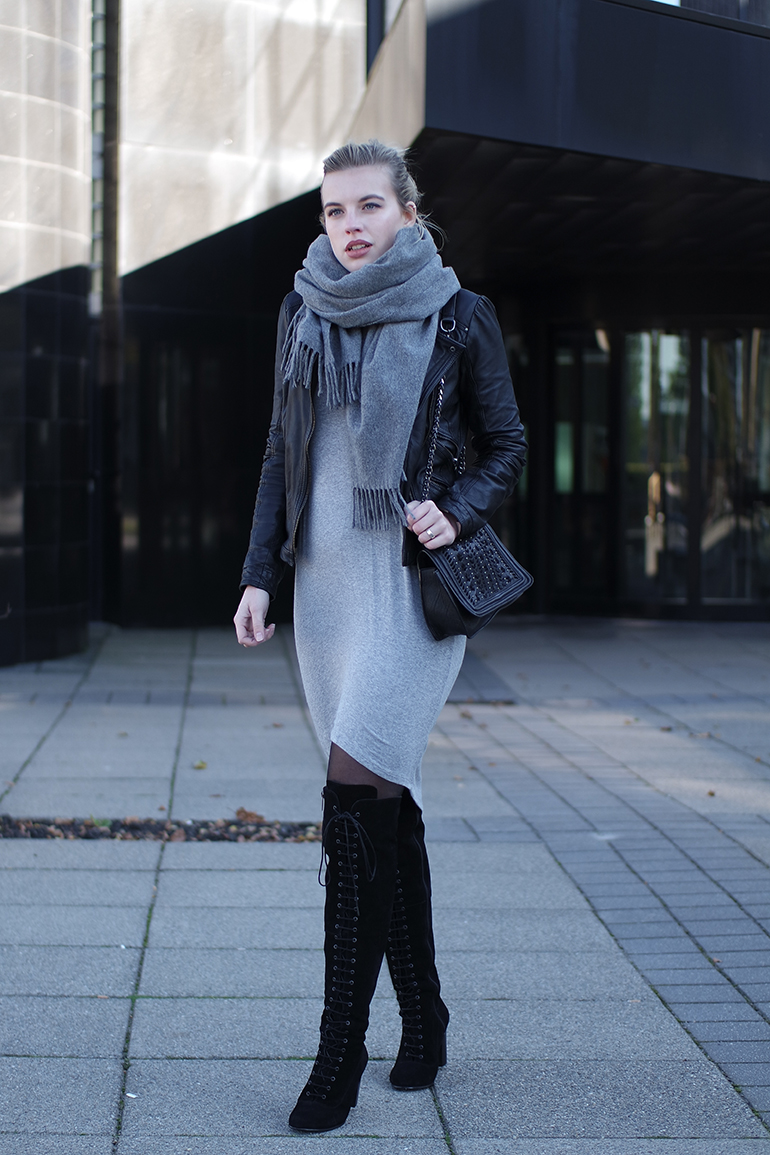 RED REIDING HOOD: Fashion blogger wearing over the knee boots ted & muffy outfit leather jacket acne studios canada wool scarf