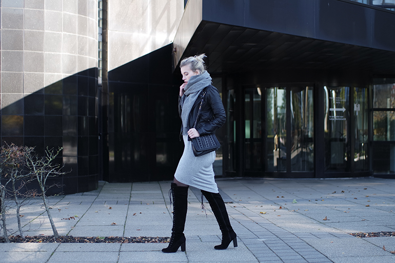 RED REIDING HOOD: Fashion blogger wearing ted & muffy freia otk boots midi dress leather jacket outfit