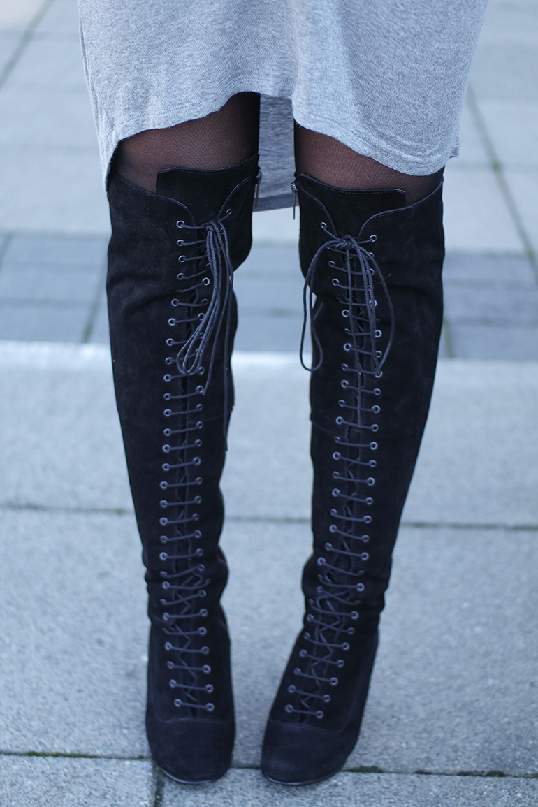RED REIDING HOOD: Fashion blogger wearing otk boots ted & muffy freia over the knee boots outfit details