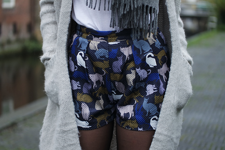 RED REIDING HOOD: Fashion blogger wearing H&M cat print high waisted shorts outfit details