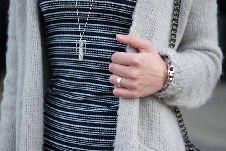 RED REIDING HOOD: Fashion blogger wearing marble necklace costes fluffy mohair cardigan outfit details striped knit dress