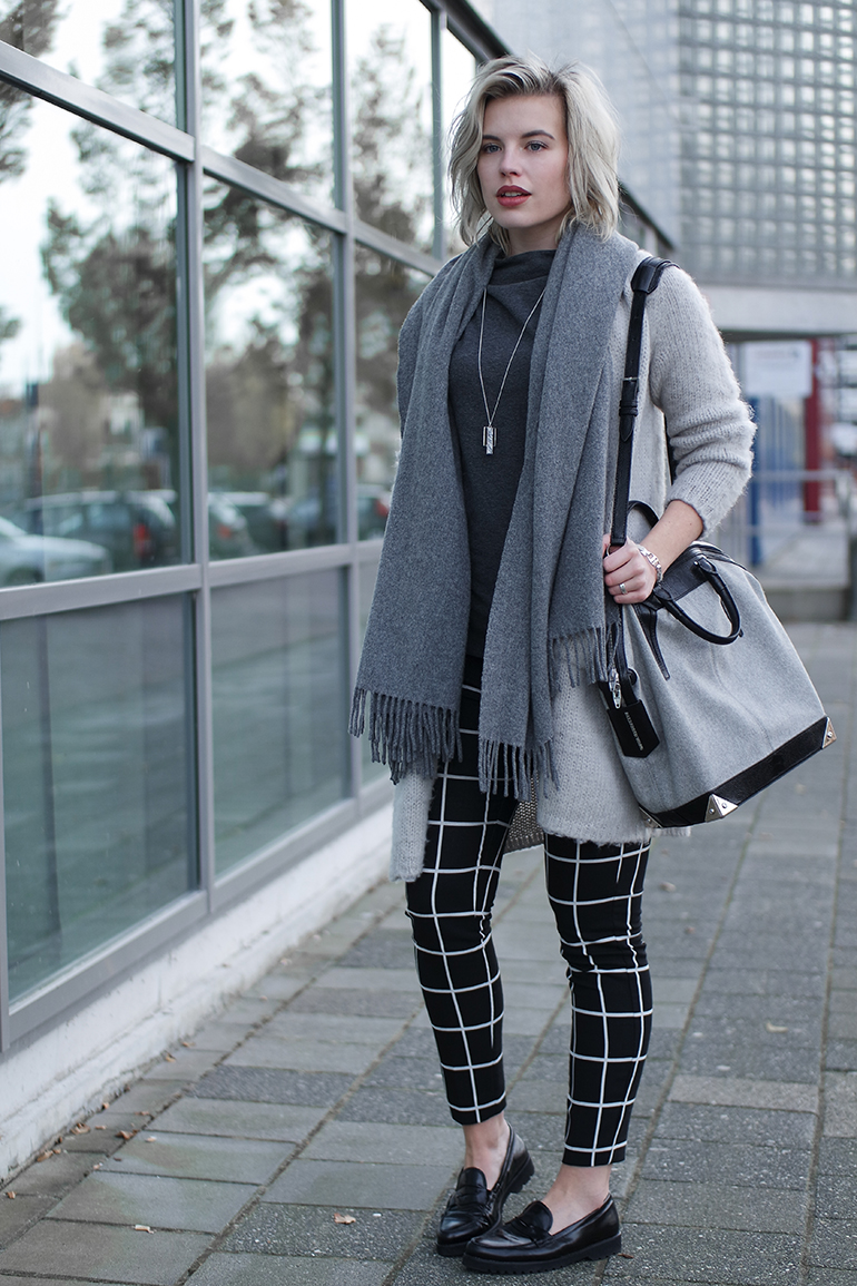 RED REIDING HOOD: Fashion blogger wearing grid check pants outfit acne canada wool scarf alexander wang emile tote bag loafers