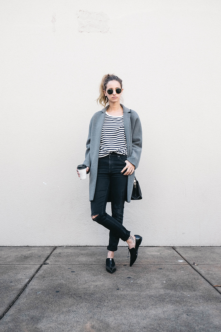 RED REIDING HOOD: Fashion blogger wearing oversized grey coat striped shirt loafers outfit