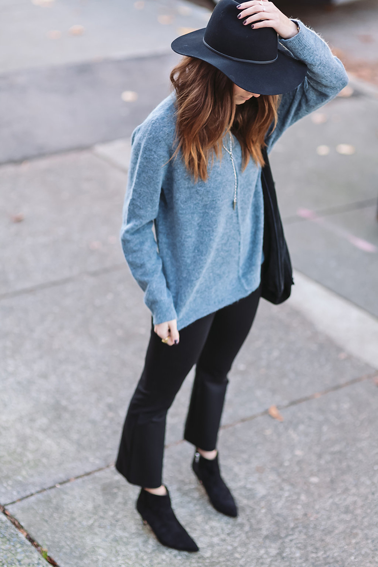 RED REIDING HOOD: Fashion blogger wearing floppy hat blue cashmere sweater outfit