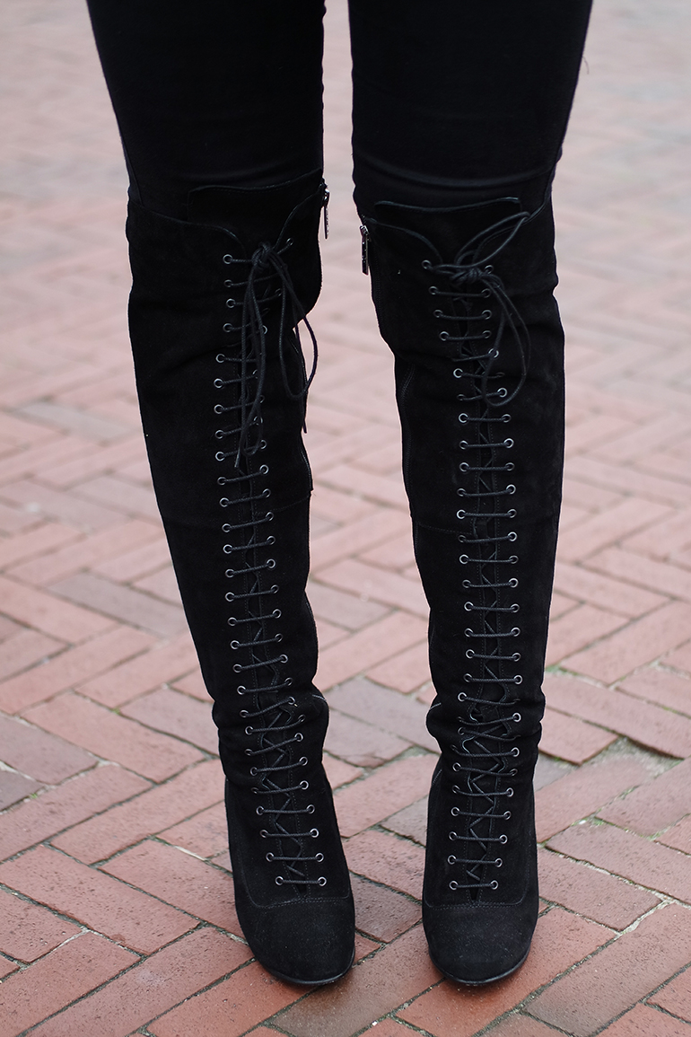 RED REIDING HOOD: Fashion blogger wearing OTK boots Ted & Muffy Freia lace up over the knee boots outfit details
