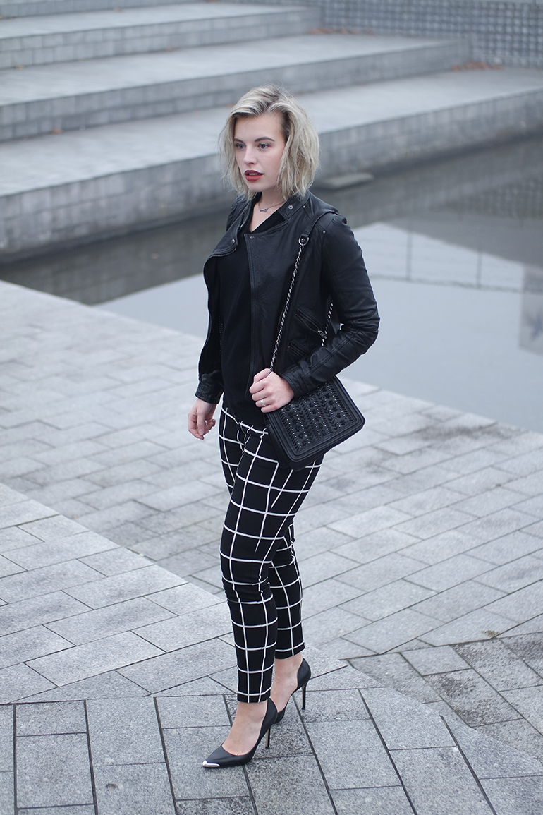 RED REIDING HOOD: Fashion blogger wearing grid check pants costes leather jacket zara outfit