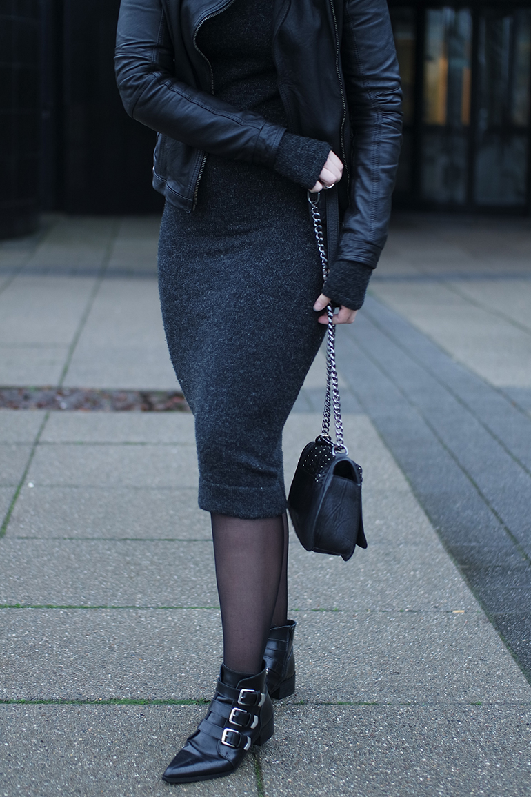 RED REIDING HOOD: Fashion blogger wearing leather jacket outfit details midi knit dress supertrash ankle boots