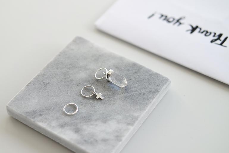 RED REIDING HOOD: Fashionology jewelry teeny tiny cross earring tiny clear quartz earring marble coaster