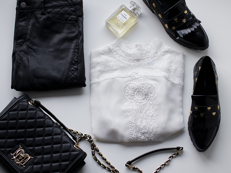 RED REIDING HOOD: Flatlay Moschino Chain Bag Miista loafers Saint Tropez top Chanel perfume faux leather pants