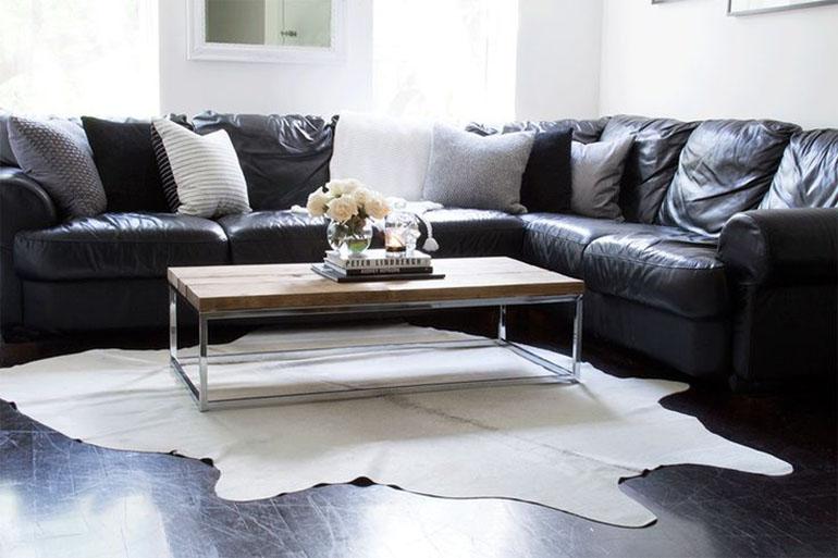 RED REIDING HOOD: Light brown white cowhide rug minimal interior scandinavian style