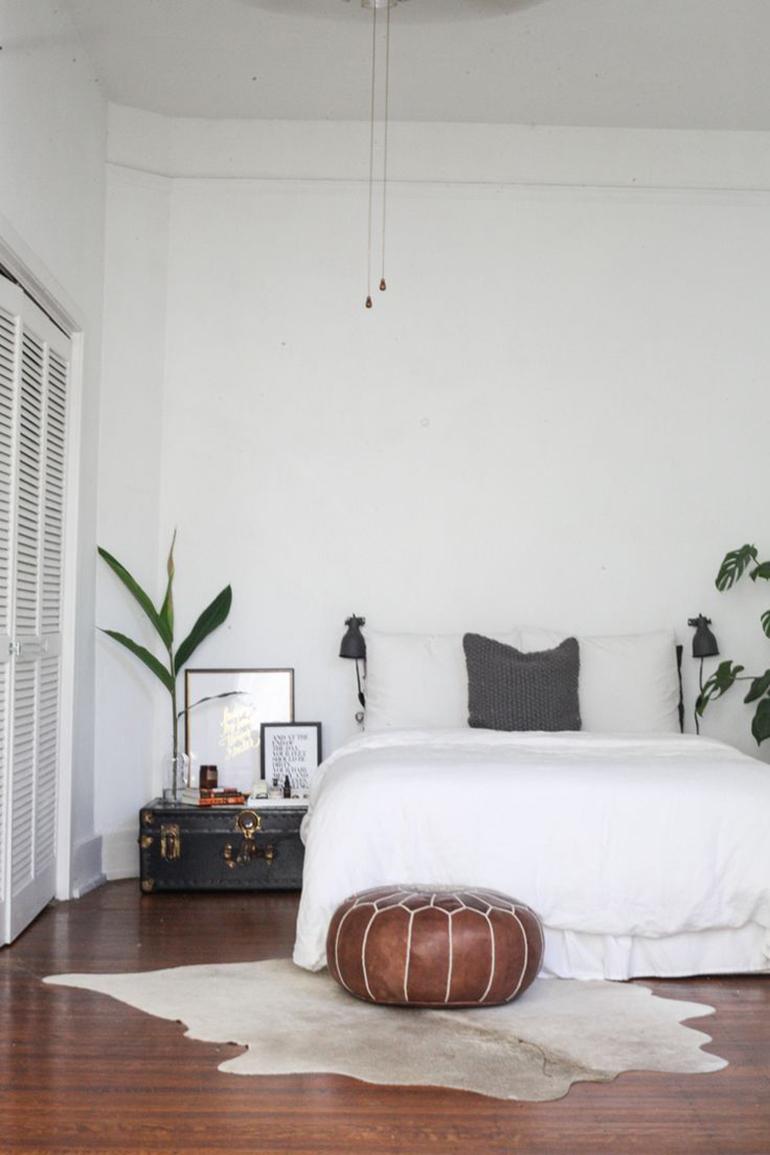 RED REIDING HOOD: Light brown cowhide rug minimal interior scandinavian style