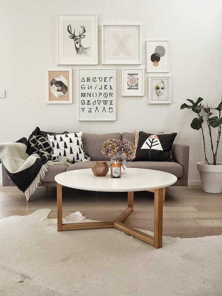 RED REIDING HOOD: Light brown cowhide rug interior living room