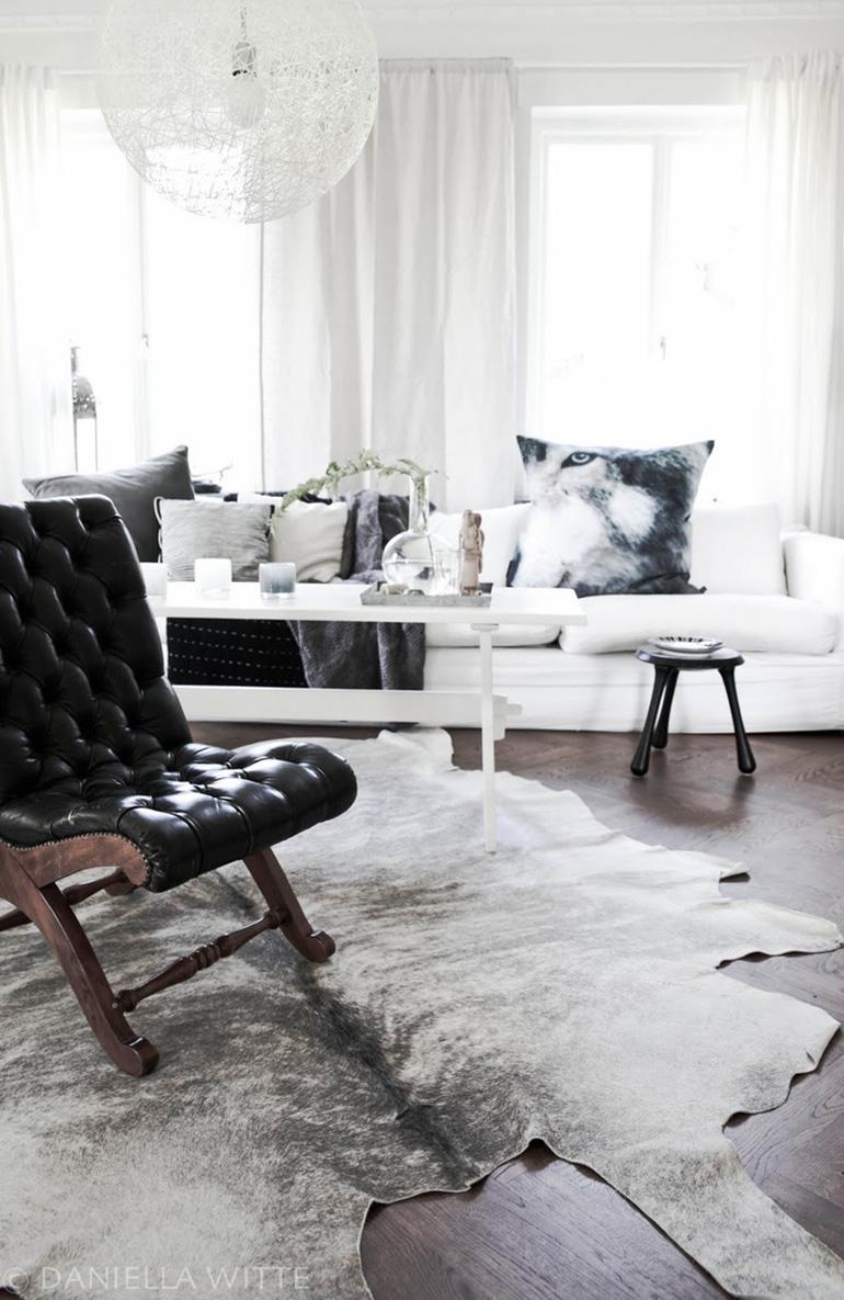 RED REIDING HOOD: Black white grey cowhide rug minimal interior scandinavian style