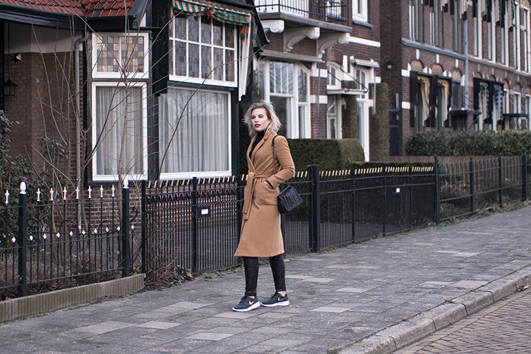RED REIDING HOOD: Fashion blogger wearing nike kaishi sneakers leather pants topshop long camel coat rib roll neck top sportluxe outfit