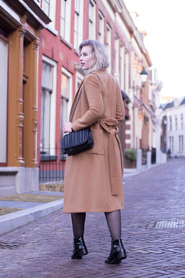 RED REIDING HOOD: Fashion blogger wearing long camel coat topshop supertrash ankle boots