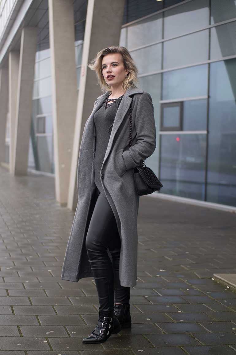 RED REIDING HOOD: Fashion blogger wearing long grey coat lace up top faux leather pants supertrash boots outfit