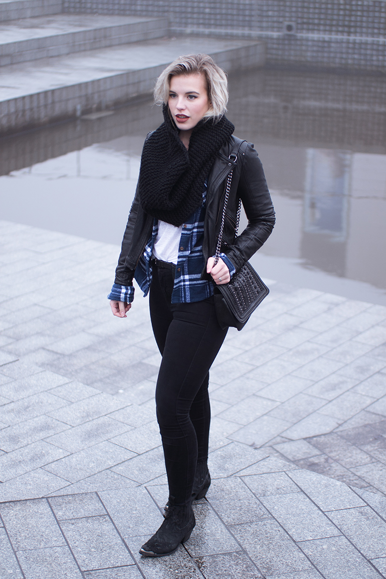RED REIDING HOOD: Off duty chic outfit plaid flannel shirt superdry leather jacket sendra boots