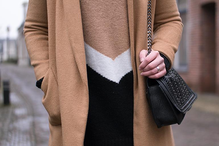 RED REIDING HOOD: Fashion blogger wearing camel coat topshop outfit details zara chain bag