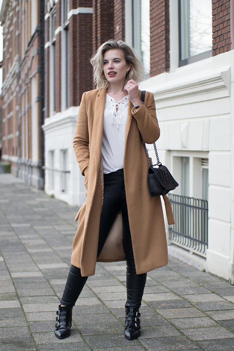 RED REIDING HOOD: Fashion blogger wearing white lace up blouse topshop long camel coat faux leather pants outfit